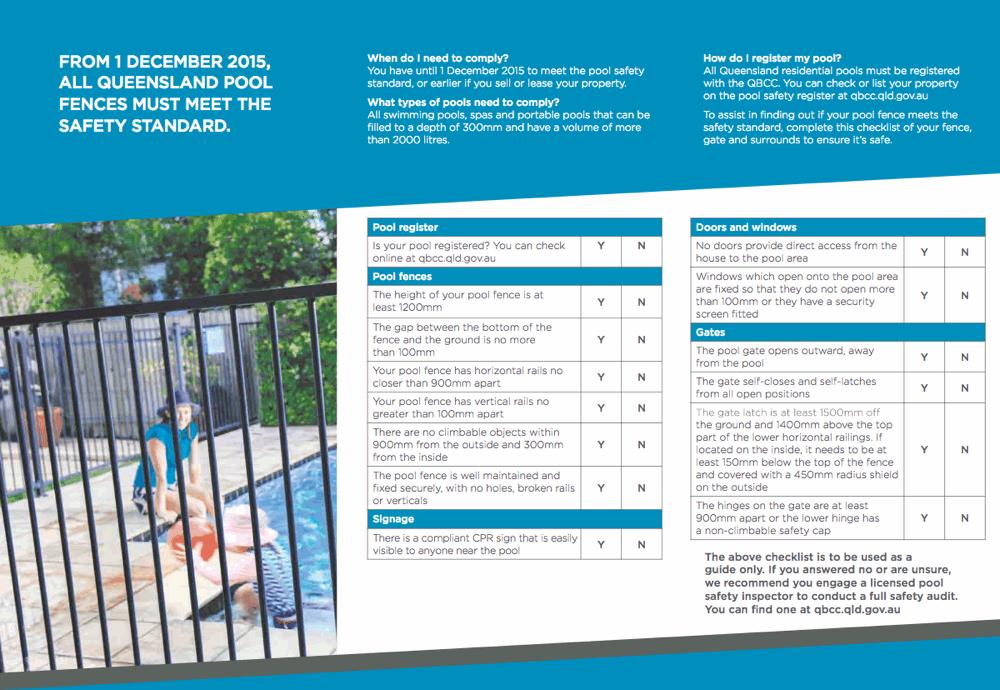 Qbcc Pool Fencing Safety Standard Checklist Rcg